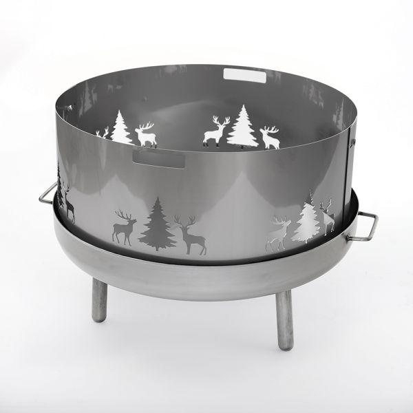 Edelstahl Funkenschutz Wild für alle Feuerschalen 80 cm